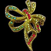 Beautiful Turquoise Simulated Seed Pearl Rhinestone Ribbon Bow Brooch Pin