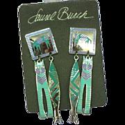 Laurel Burch Retired MINT Original Card Cloisonne Sterling Silver Plate Pierced Earrings c1986