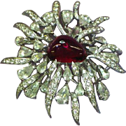 Boucher Early Signed and Numbered Gripoix Glass Stone Pave Rhinestones Pin Brooch