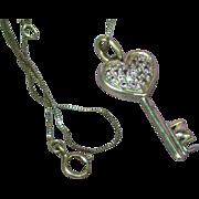 Sterling Silver Marked SAI Tanzanite I Love You Heart Key Pendant Necklace