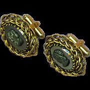 Cufflinks Cameo Hematite Black Gold Filigree Cuff Links