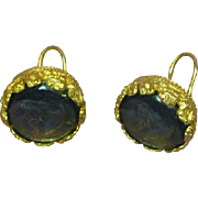Intaglio Carved Glass Cameo Smokie Blue Gold tone Clip Earrings