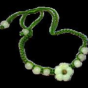 Jade Carved Flower Slip Knot Bracelet