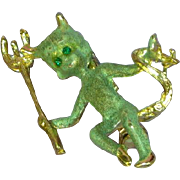 Rare Gold-Tone Green Enamel Female Figural Devil Pin Brooch
