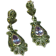 Gemstones Vintage Sterling Silver Amethyst and Marcasite Dangle Pierced Earrings