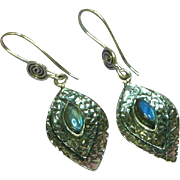 Labradorite Genuine Gemstone Sterling Silver Pierced Dangle Earrings