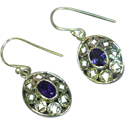 Gemstones Vintage Sterling Silver Amethyst Floral Dangle Pierced Earrings