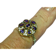 Stunning Sterling Silver Vermeil, Amethyst Gemstone  Princess Ring