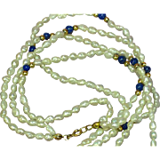 14K Yellow Gold Fabulous Vintage Fresh Water Pearl and Genuine Lapis Necklace