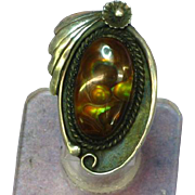 SALE Native American Indian Fabulous FIRE AGATE & Sterling Silver Ring