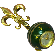 Enamel Ball Watch On Gold Filled Fleur-de-Lis Pin Stars Fleur-de-Lis Green ...
