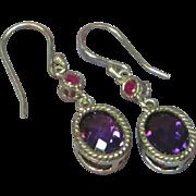 Genuine Gemstones Sterling Silver Amethyst and Ruby Dangle Pierced Earrings
