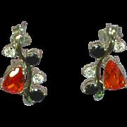 Genuine Gemstones Sterling Silver  Dangle Pierced Earrings