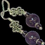 Gemstones Amethyst Sterling Silver Drop Pierced Earrings