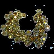 Juliana Light Topaz Rhinestones & Smoke/Gold Mirror Crystals Bracelet