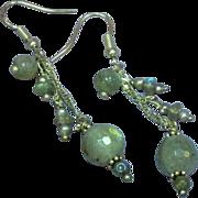 STORE WIDE SALE Genuine Gemstones Sterling Silver Faceted Labradorite Dangle Pierced Earrings