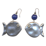 Vintage Silvertone and Cobalt Blue Glass Made in France Fish Earrings