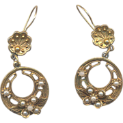 Vintage ART Dangle Pierced Earrings with Simulated Pearls
