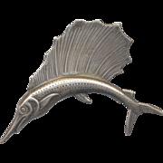Vintage Sterling Fish Brooch