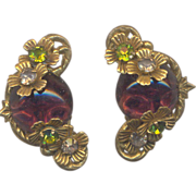 Vintage Miriam Haskell Clip on Earrings with Purple glass cabs