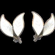 David Andersen Norway Sterling Double Leaf Earrings