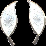 David Andersen Norway Sterling Single Leaf Earrings