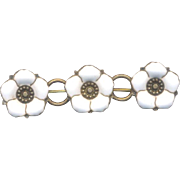 Victorian Collar Pin with White Enamel Flowers