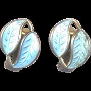 David Andersen Norway Sterling Blue Guilloche Earrings