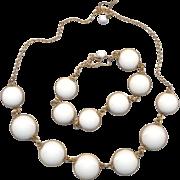 Vintage Gold Filled White Lucite Disc Necklace and Bracelet
