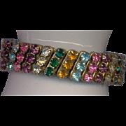 Unique Multi Color Vintage Stretch Rhinestone Bracelet