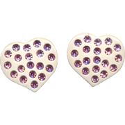 Large Lucite Heart Earrings with Pink Rhinestones