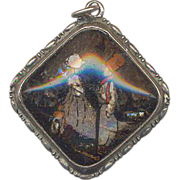 Rare Vintage Marked Butterfly Wing Pendant with Concave Glass Front Painted Scene