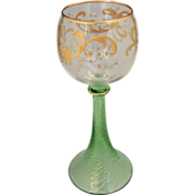 SOLD Vintage Bohemian Czech Glass Goblet Gold Enamel and Green Stemware