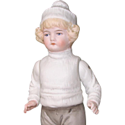 """7 1/2"""" Hertwig Early All Bisque Boy in Winter Attire"""