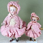 """SALE Delightful All Original Pair in Pink ~ 5 1/2"""" Kestner & 3 3/4 ..."""