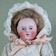 """SALE 4 1/4"""" Early Round Face Ball Head All Bisque Doll w Yellow Boots"""