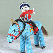 "SALE ZUNI Indian Beaded Horse and Rider 4 1/2"" X 3 1/2"""