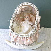 "4""  Unmarked German All Bisque Baby in Wicker Cradle"