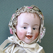 "REDUCED 8 1/4"" Happy Gbr. Heubach Character Baby ~ Mold # 7604"