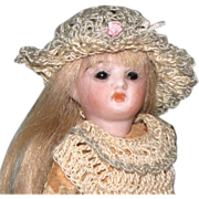 """SOLD Cute 5"""" Bisque Head Doll with Glass Eyes ~ Dollhouse Size!"""