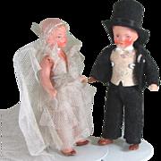 "3 3/4"" Pair Hertwig Painted Bisque Bride and Groom ~ All Original"