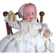 """7"""" Mystery Character Baby Marked """"243"""" in Antique High Chair"""