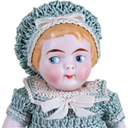 """4 1/2"""" All Bisque Googly Doll Marked """"210 / 11"""" ~ Campbell Kid Type"""