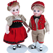 """REDUCED Fabulous 4"""" Pair Gbr Kuhnlenz """"31 - 9"""" All Bisque Dolls with Factory Or"""