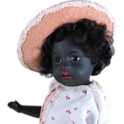 """SOLD Rare! 9 1/2"""" Black Gbr. Kuhnlenz """"34 - 18"""" ~ Bisque Doll with Skin Wig"""