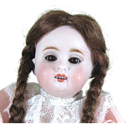 """Pretty 6 3/4"""" Kestner 150 All Bisque Doll with Brown Sleep Eyes"""