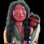 "13"" & 6 1/2"" SKOOKUM Indian Dolls + 4 Wood Plaques"