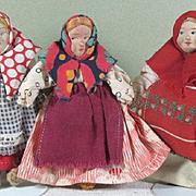 """SALE 3 Little Russian Dolls 4 1/4"""" ~ Group 4"""