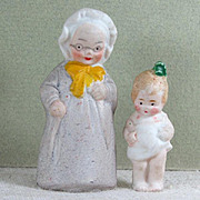 """SALE 2 German """"Tinies"""" by Hertwig...1 1/2"""" & 2 1/8"""" Immobile Bisque Figure"""
