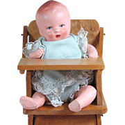 "4"" Hertwig All Bisque Baby Doll in Darling High Chair"